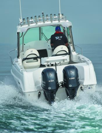 "Although the single-engine transom demands a 25"" outboard shaft, the twin-rig transom takes a pair of 20"" leg outboards."