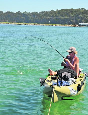 Kayak fishing is very popular in the shallow of Wallaga Lake.