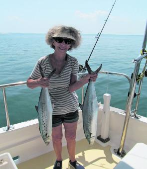Spero's wife with a couple of quality spotty mackerel. The spotties have been great and the Spaniards have also been about in good numbers.