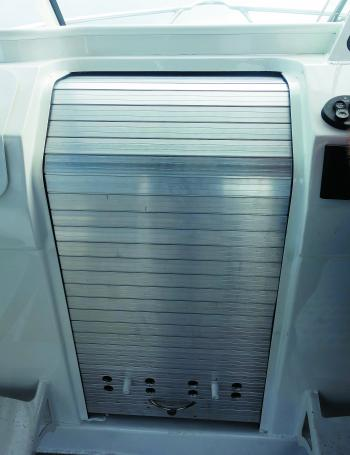 The optional alloy roller door to the fore cabin.
