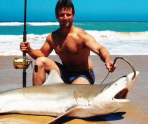 Matt Smit with a huge bronze whaler caught from the surf.