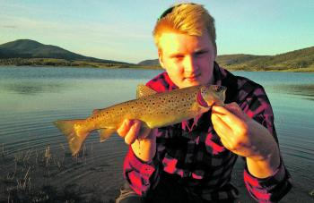 Leo Falt from Sweden with his first Australian trout.
