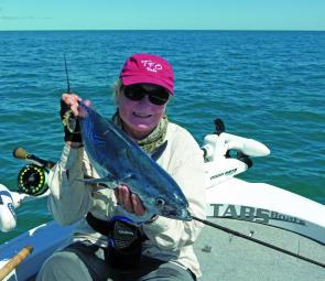 Denise Kampe with a fair mac tuna, which was great sport on her 9wt fly outfit.