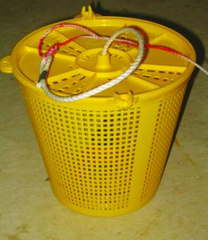 Plastic berley buckets are cheap to buy and easy to use. If you want to disperse your berley more slowly then wrap some fine mesh or a stocking around inside of the pot.