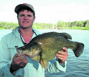 Zac Jury with his 53.4cm yellowbelly from the Golden Do$$ars fishing event.
