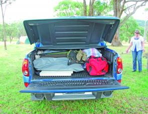 The Fastback's lock down hard tonneau will stow a fair amount of camping and fishing gear.