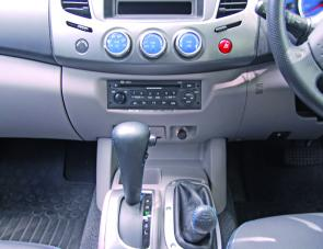 Leather trim with blue stitching sets off the gear shifter and high/low range selector of the Fastback.