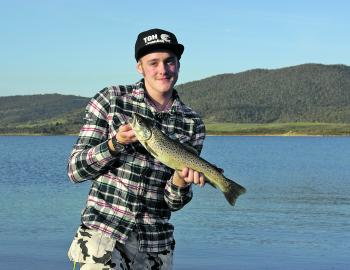 Joel Fredriksson from Sweden with his first Australian trout.
