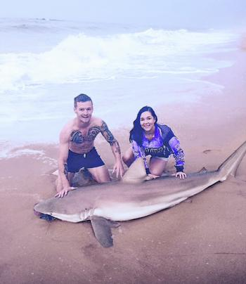 Teegan Moston caught her first bronze whaler with her boyfriend James Herbert. The shark went 9ft, and was recorded and released.