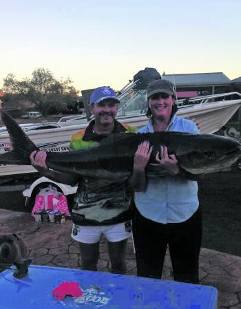 Tina landed her monster 32kg cobia after an epic 15-minute fight.