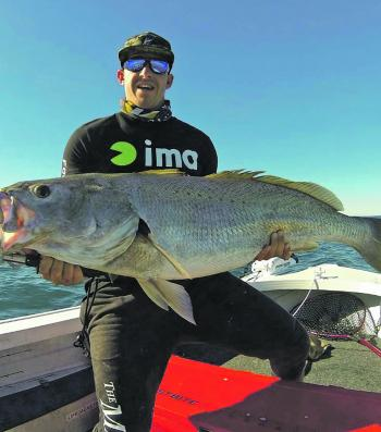 Steve Ward caught this trophy-size mulloway on a micro-jig off the Gold Coast.