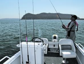 There is plenty of space both forward and aft to swing a rod.