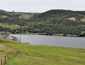 Looking over the main basin of Lake Lyell towards the western bank and camping area.