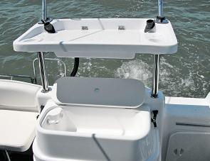 The Whittley's bait tank and bait station are adjacent for easy angler use.