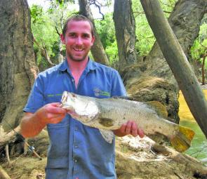 Nathan snagged this Wenlock River barra while fishing from the bank.