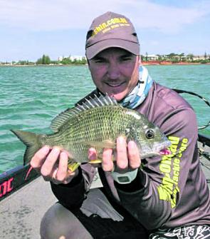 Justin Thompson working out the bream bite at Redcliffe.