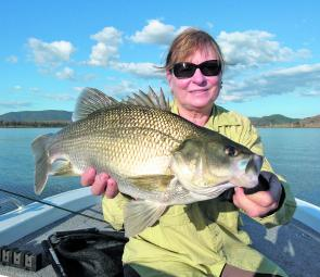 That's 54cm of bass taken by Denise Kampe on a bony bream style fly.