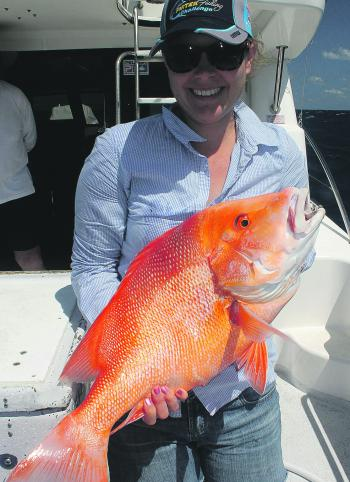 Katie Brechin very happy with her red emperor caught with Renegade Charters.