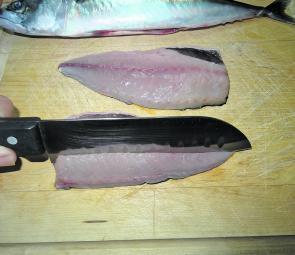 To remove the bones, make an incision down to (but not through) the skin above the pin bones and bloodline (which run the full length of the fillet). The line of pin bones that run the full length down the middle of the fillet will remain attached to the