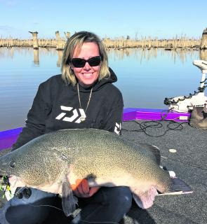 Vanessa Bennett with her 110cm monster Murray Cod.