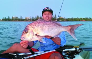 Josh King loves getting into Reddy snapper under paddle power, and as you can see, you don't have to paddle far.