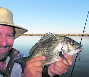 A decent bream caught on a hardbody vibe worked in the shallows of Bandin Bay.