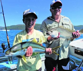 A kingfish and mulloway caught from the same bait ball down deep at Pittwater.