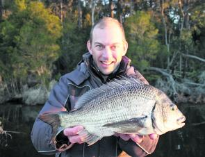 Josh Hollis with the sort of winter black bream that can be expected over the next 4 months.
