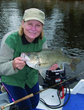 The author's wife Denise with a decent Somerset Dam bass.