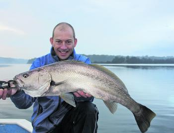 Josh Hollis with a nice estuary mulloway caught on a plastic and released shortly after this photo in super condition.
