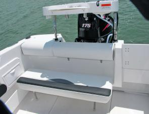 The aft seat has room for three and quickly folds down.